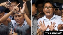 Сое Оо (слева) и Ва Лон в суде Мьянмы, 3 сентября 2018 года