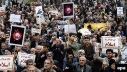 Тегерандағы Сауд Арабиясы билігінің шииттердің діни тұлғасы Нимр әл-Нимрге өлім жазасын орындауына байланысты наразылық акциялары. 8 қаңтар 2016 жыл.