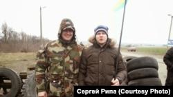 Активист Майдана Сергей Рипа на блопосту под Корсунем-Шевченковским в феврале 2014 года