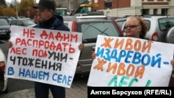 Участники пикета в защиту лесов в Новосибирской области