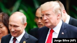 The upcoming summit between U.S. President Donald Trump (left) and Russian President Vladimir Putin (right) has many people worried in Kyiv. (file photo)