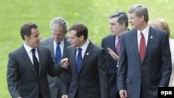 Liderët e G 8-ës në Hokkaido të Japonisë, 8 korrik 2008.