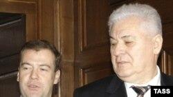 Dmitri Medvedev și Vl. Voronin la întîlnirea precedentă de la 18 martie 2009