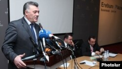 Armenia -- The deputy chairman of the Zharangutyun party, Ruben Hakobian, speaks at a conference of opposition forces held in Yerevan, 20Jan2012.