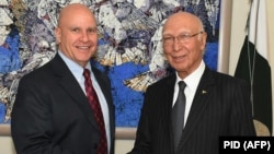 Pakistan's National Security Adviser Sartaj Aziz (right) is pictured with U.S. national security adviser H.R. McMaster in Islamabad.