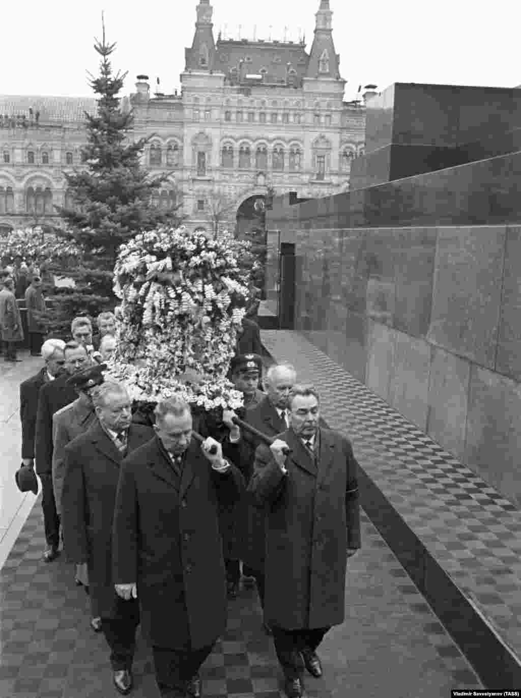 Pallbearers, including Leonid Brezhnev (front right), the general-secretary of the Communist Party, and Premier Aleksei Kosygin (front left), carried the urn containing Gagarin's ashes.
