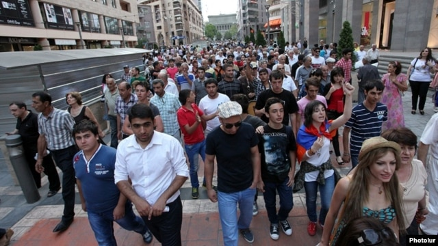 Armenians protest a rise in public-transport fares in Yerevan on July 28, just one sign that the usual attitude toward Moscow may be changing the South Caucasus country.