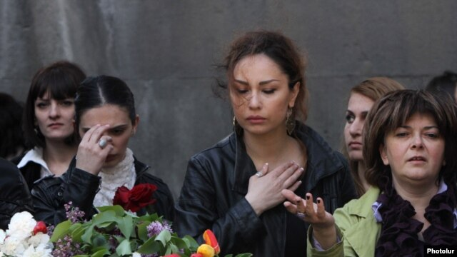Yerevan--Armenians visit the Memorial Complex of Armenian Genocide Tsitsernakaberd on April 24, the commemoration day of the Great Armenian Genocide in 1915.