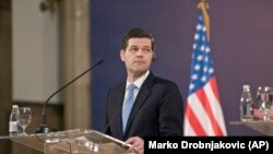 SERBIA -- Wess Mitchell, U.S. assistant Secretary of State for European and Eurasian affairs, is seen at a press conference in Belgrade, March 14, 2018