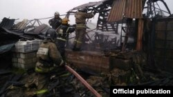 The fire at an industrial facility in Russia's Leningrad region took place early in the morning on July 13.