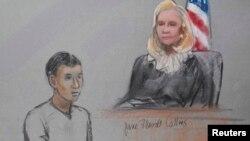Гражданин Казахстана Азамат Тажаяков в суде в Бостоне. 1 мая 2013 года.