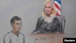 Казахстанец Азамат Тажаяков в суде Бостона.