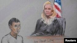 Подсудимый Азамат Тажаяков. Рисунок сделан в суде в Бостоне 1 мая 2013 года.