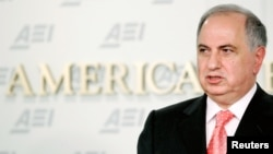 Ahmad Chalabi at a 2005 appearance before the American Enterprise Institute for Public Policy Research (AEI) in Washington