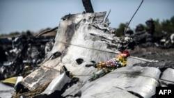 Flori la locul accidentului, în apropiere de satul Hrabove din Donețk, 26 iulie 2014