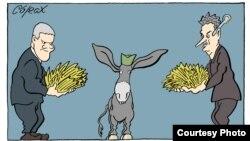Serbiyalı siyasi karikaturaçı rəssam Corax-ın əsəri.