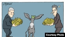 Alegerile din Serbia văzute de caricaturistul Predrag Koraksic - Corax de la Belgrad.