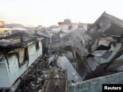Остров Енпхендо после северокорейского обстрела, 24 ноября 2010 года