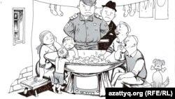 Жаңаөзендегі спутниктік тәрелкелер. Сәбиттің карикатурасы. Алматы, 14 маусым 2012 жыл.