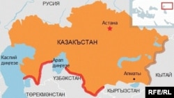 Қазақстанның Түркіменстанмен және Өзбекстанмен шекарасы белгіленген карта.