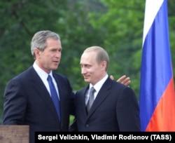 Президент РФ Владимир Путин и президент США Джордж Буш, Любляна, 2001 год