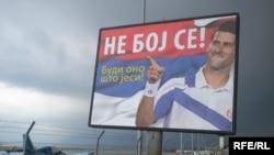Novak Đoković na bilbordu za popis u Crnoj Gori, foto: Jasna Vukićević