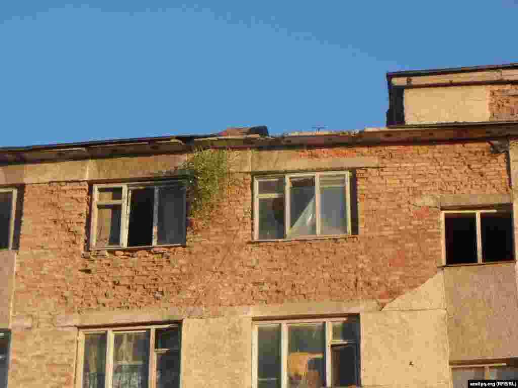 Жильцы общежития говорят, что во время дождей протекает крыша, комнаты заливает водой. В пятиэтажном здании нет канализации. Единственный туалет - на улице.