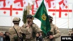 Աֆղանստան մեկնող 750 վրաց զինվորականների ճանապարհման հանդիսավոր արարողությունը Թբիլիսիին մերձակա «Վազիանի» ռազմակայանում, 7-ը ապրիլի, 2010թ.