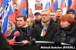 Михаил Касьянов на траурном шествии памяти Бориса Немцова в Москве