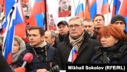 Михаил Касьянов и Илья Яшин на митинге памяти Бориса Немцова