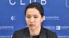 Синхронды жүзуден Қазақстан құрамасының экс-мүшесі Амина Ермаханова Алматыда өткен баспасөз мәслихатында. 1 наурыз 2017 жыл.