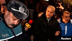 Бывший премьер-министр Румынии Адриан Нэстасе (в центре) доставлен в тюрьму. 6 января 2014 года.