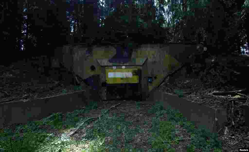 The entrance to the secret bunker, hidden in the forest near the town of Misov, southwest of Prague