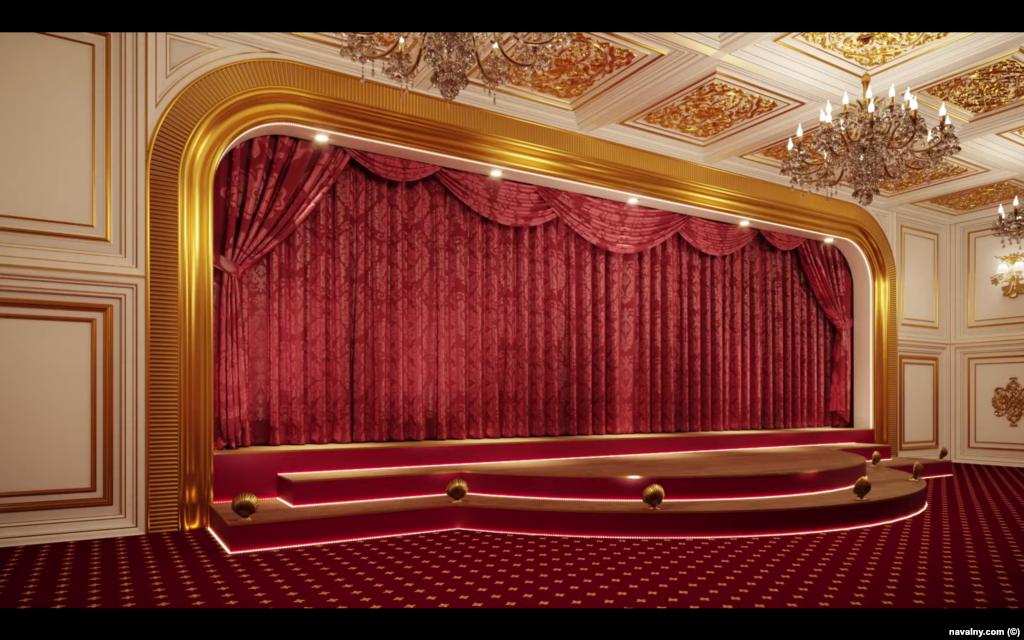 Це цифрова візуалізація театру, показаного на планах будівлі. Навальний визнає, що деякі деталі візуалізації палацу і його кімнат можуть відрізнятися від реальності