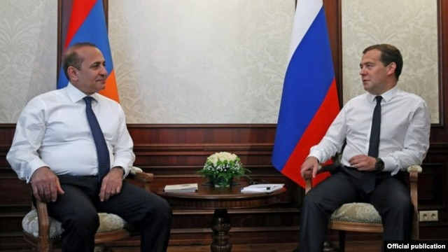 Russia - Prime Minister Dmitry Medvedev meets with his Armenian counterpart Hovik Abrahamian in Sochi, 11Jul2014.