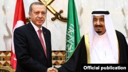 Recep Tayyip Erdoğan və Səudiyyə kralı Salman - 2015
