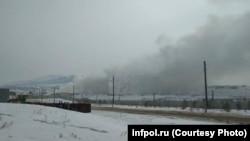 Пожар на мусорном полигоне под Улан-Удэ