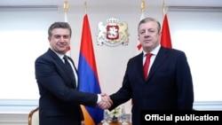 Грузия -- Встреча премьер-министров Армении и Грузии - Карена Карапетяна и Георгия Квирикашвили (справа), Тбилиси, 23 февраля 2017 г.