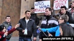 Armenia -- Youth activists demosntrate against Yerevan Staty University rector Aram Simonian, 14Feb2019.