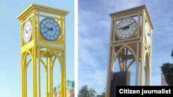 Часы в центре Ташкента (на фото слева) оказались копией мемориала в память о погибших в результате теракта 11 сентября 2001 года (справа), который установлен в Нью-Йорке.