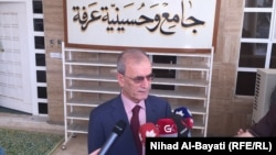 محافظ كركوك نجم الدين كريم يتحدث أمام جامع عرفة