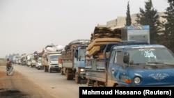 Caravană de refugiați în regiunea Idlib, ultima regiune siriană dominată de rebeli în războiul civil sirian