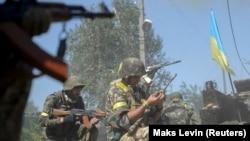 Ukrainian servicemen in Ilovaysk, eastern Ukraine, in August 2014.