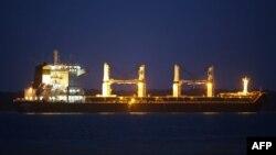 کشتی باوند با بار ۴۸ هزار تن ذرت در این تصویر از ۱۹ ژوئیه در بندر پاراناگوآ دیده میشود