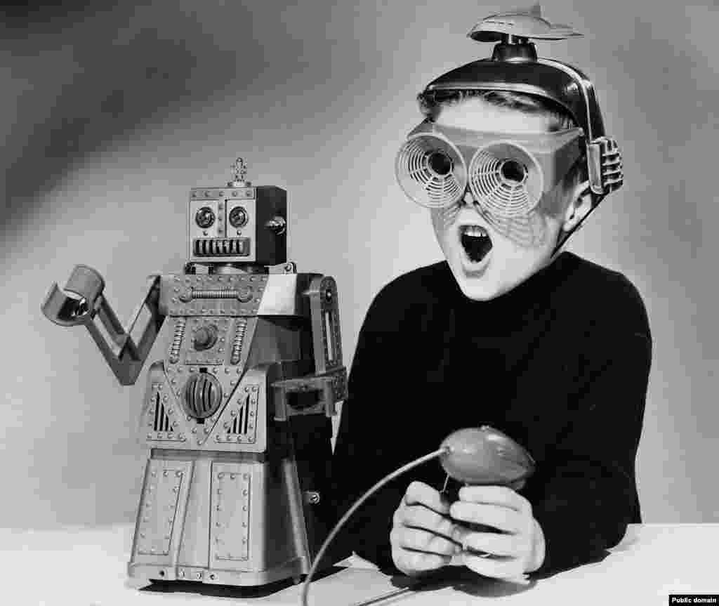 """Next came the U.S. exhibition in Moscow. The caption for this 1959 marketing photo for 'Robert the Robot' hints at the anticipation: """"He walks, he talks and moves his hands -- all via remote control. The mechanical toy...will be displayed at the American fair in Moscow this summer."""""""