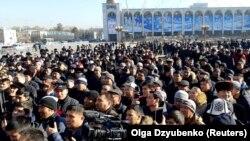 Бішкектің орталық алаңындағы Қытай мигранттарына қарсылық акциясы. 17 қаңтар 2019 жыл.
