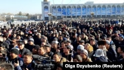Some 500 people rallied at Bishkek's Ala-Too Square in support of ethnic Kyrgyz whom they said are being persecuted in reeducation camps in China's Xinjiang region.