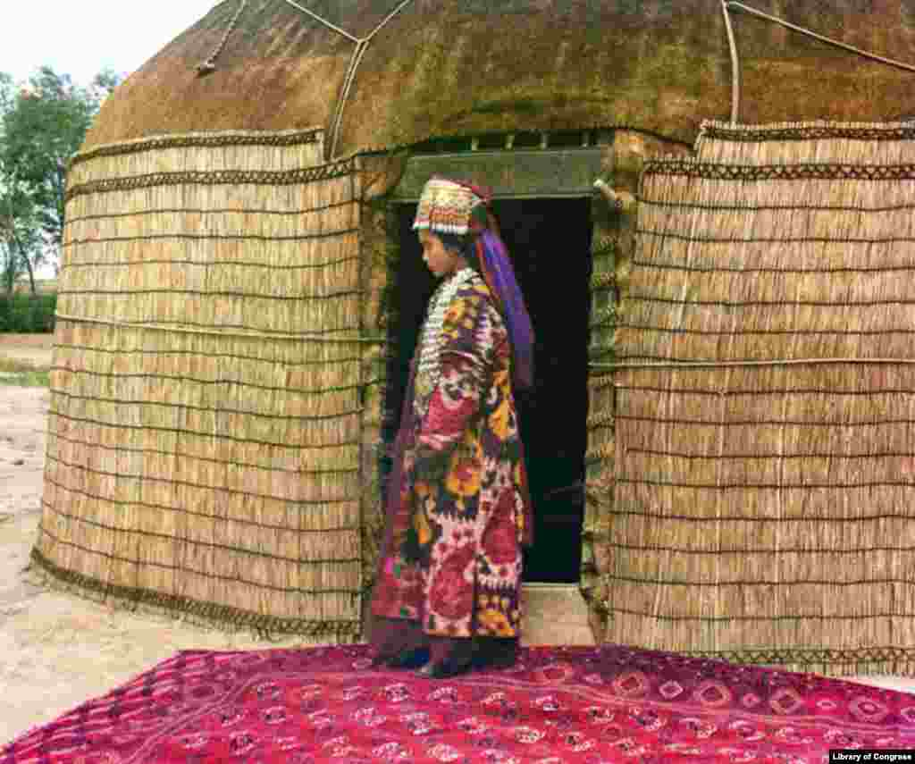 An Uzbek woman in traditional dress stands in front of her yurt. - Prokudin-Gorsky left Russia for Norway in 1918 after the revolution brought down the empire he had documented. Prokudin-Gorsky's original work is now housed by the U.S. Library of Congress, which purchased the original glass-plate negatives from his heirs in 1948.