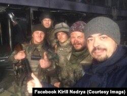 Кирило Недря на знімальному майданчику художнього фільму «Кіборги»