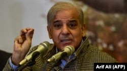 Shahbaz Sharif, opposition leader and brother of former Pakistani Prime Minister Nawaz Sharif, speaks during a press conference regarding his ill brother, in Lahore, on November 14.
